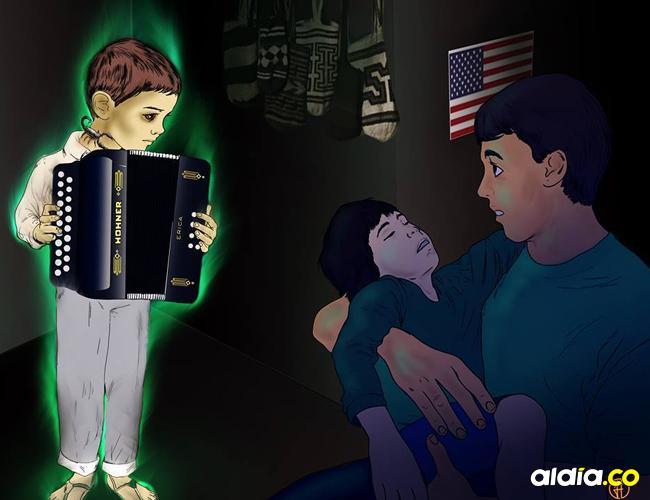 Un niño acordeonero le reveló a una familia gringa el mal que padecía su hijo.