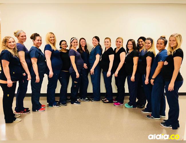 15 de las 16 mujeres que están embarazadas en un hospital en Arizona. | Tomado de Facebook.