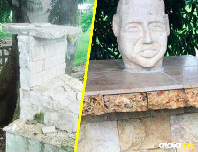El pedestal fue dañado al parecer con un objeto contundente y el busto robado. Los pobladores rechazaron el hecho. | Al Día
