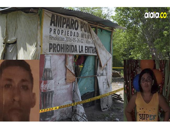En este cambuche habitaba la pareja conformada por Ricardo José Borja Charris y Angélica María Montaño Acosta.