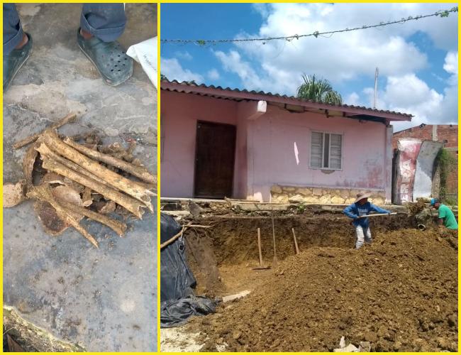 Los trabajadores estaban construyendo una terraza.