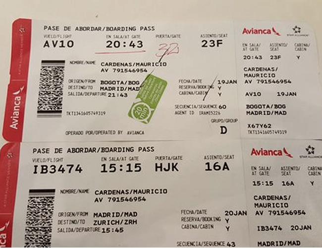El ministro Mauricio Cárdenas tuiteó la foto del tiquete de avión en clase turista. Muchas gracias señor ministro | Foto: Mauricio Cárdenas