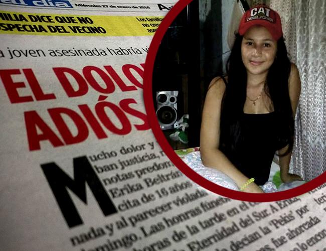 Érika Beltrán fue violada y estrangulada con su propio cinturón, en la madrugada del pasado domingo 24 de enero, en el Barrio Los Almendros. | Foto: ALDÍA