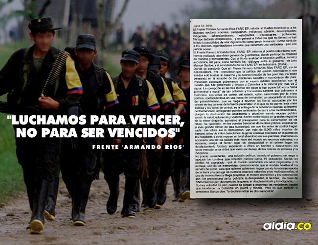 El presidente Santos respondió hoy mismo al anuncio del 'Armando Rios' con la advertencia de que si no se desmovilizan serán capturados o dados de baja. | ALDIA.CO