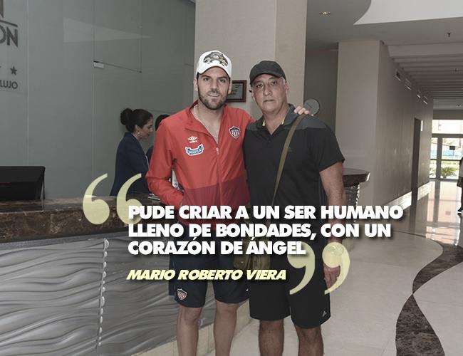 El capitán del equipo tiburón, Mario Sebastián Viera, con su padre Mario Roberto Viera. | Foto: ALDIA.CO