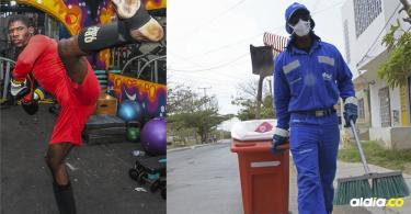Las dos facetas de Víctor Ávila, la de 'escobita' y la de deportista.