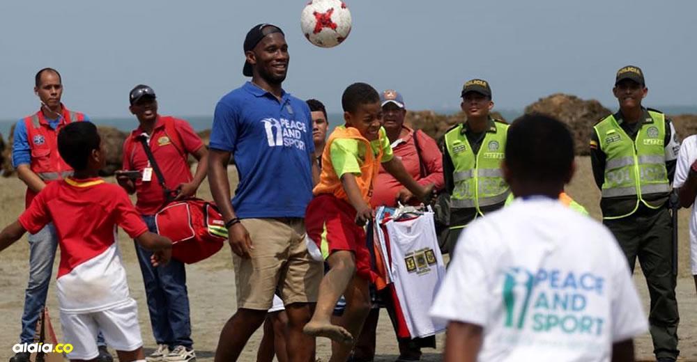 El legendario  Didier Drogba, 'Campeón de la Paz' de Peace and Sport, en su visita por Cartagena | Instagram