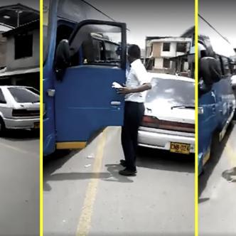 El busetero se puso más agresivo de lo que hubiera querido, se encontró con un hombre armado y de muy mal humor. | Facebook