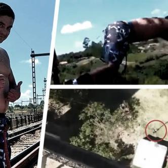 El error queda en evidencia de inmediato: la cuerda era demasiado larga para la altura del puente. | LiveLeak