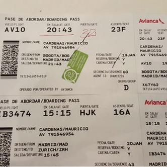 El ministro Mauricio Cárdenas tuiteó la foto del tiquete de avión en clase turista. Muchas gracias señor ministro   Foto: Mauricio Cárdenas