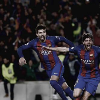 Sergi Roberto celebrando el sexto gol del partido   Efe