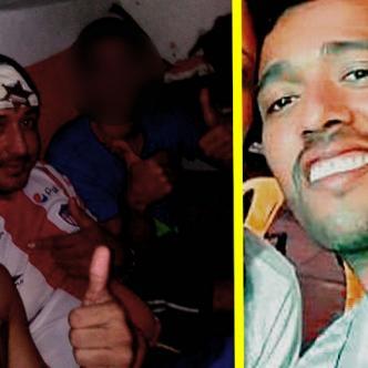 Andrés García (sin camisa) y Jahn Carlos Meriño Gómez, selfie tomada cuando estuvieron presos en El Bosque