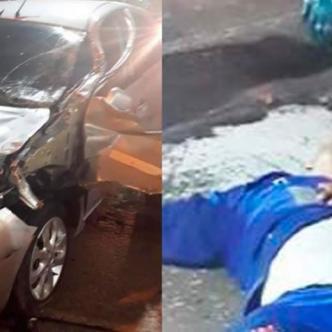 El carro que era conducido por el joven de 18 años. Al lado, Óscar Mercado Ojeda, fallecido.   Al Día