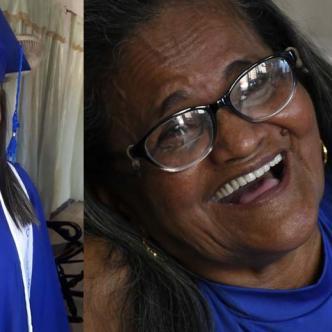 Celia Catalina Fontalvo Ortega, de 66 años, acaba de cumplir uno de sus sueños, el de ponerse toga y birrete para recibir el diploma que la acredita como bachiller. Además recibió una mención de honor por sus excelentes calificaciones.