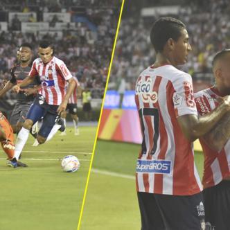 El atacante Luis Díaz ganó en velocidad a los defensas del Medellín para luego eludir a David González con un enganche, rematar a puerta y poner el 1-0. | Rafael Polo y Luis Rodríguez