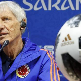 José Pékerman durante la rueda de prensa concedida este lunes en Saransk. | AFP