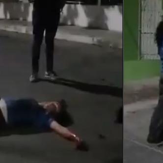 La mujer estuvo caminando varios minutos, como desorientada, luego se desmayó. | Captura de video