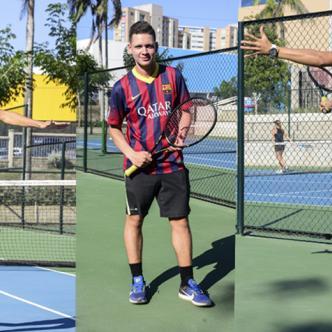 De izquierda a derecha Juan Diego Rodríguez, Camilo Fajardo y Jesús Barros, tenistas de Atlántico que competirán en el Mundial Juvenil de Tenis.