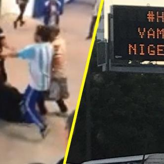 Reacciones opuestas de los fanáticos argentinos en el Mundial. | Tomada de: Captura de pantalla y Twitter.