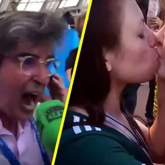 Candentes besos y efusivas narraciones dejó el partido. | Tomada de: Captura de video.
