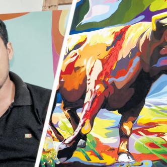 Esta es una de las obras que hace parte de la serie Corralejas del Caribe que consta de 25 cuadros.